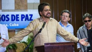 Ivan Marquez and Farc leaders in Cuba