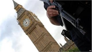 Armed police at Parliament