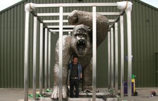 Alfie Bradley with Gorilla statue