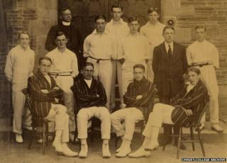 Christ College Brecon cricket team - David Cuthbert Thomas front row, far right