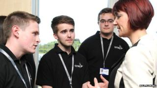 Minister Angela Constance mets a group of Scottish apprentices from services firm Amey