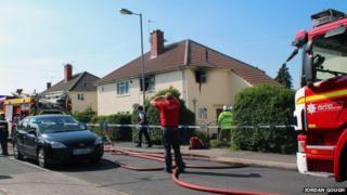 Scene of the fire in Piggott Avenue, Bristol