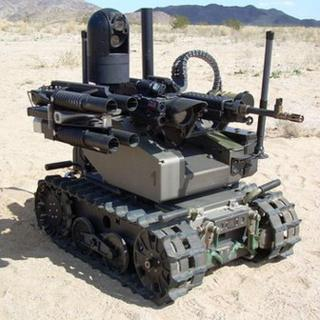 tracked robot with machine gun