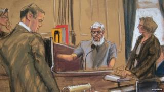 Court sketch from Abu Hamza's trial in New York