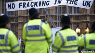 An anti-fracking banner