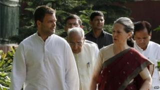 Congress President Sonia Gandhi (2R) and Vice President Rahul Gandhi (L) arrive for the Congress Working Committee (CWC)