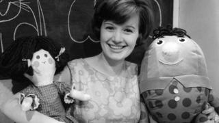 Actress Julie Stevens with rag doll Jemima and Humpty Dumpty on Playschool in 1964
