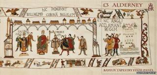 Stamp showing final panel of Bayeux Tapestry created in Alderney