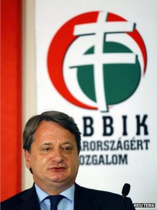 Bela Kovacs at a news conference in Budapest, 15 May
