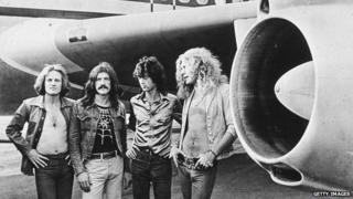 British rock band Led Zeppelin, (left -right): John Paul Jones, John Bonham (1948 - 1980), Jimmy Page and Robert Plant, in the 1970s.