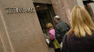 Shoppers heading into a Tiffany store in New York
