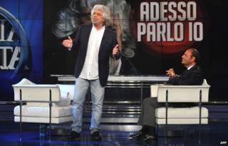 Italian politician Beppe Grillo appearing on the TV chat show hosted by Bruno Vespa on 19 May 2014