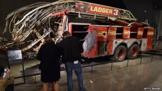 The wreckage of a fire truck on display at the National September 11 Memorial and Museum.