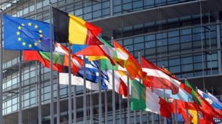 EU countries' flags, Strasbourg - file pic