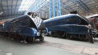 Mallard steam engine on display
