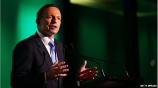 Australian Prime Minister Tony Abbott speaks during the Official Welcome Home Celebration For The 2014 Sochi Olympians And Paralympians at Museum of Contemporary Art on 9 May in Sydney, Australia.