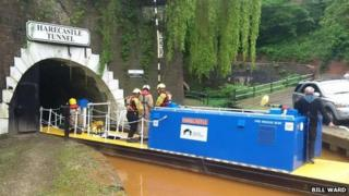 Police officers and firefighters from Staffordshire were helped by a specialist underwater search team from Nottinghamshire Police.