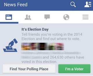 "A screengrab of the Facebook ""I'm a Voter"" button"