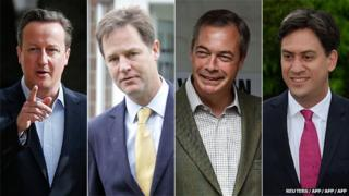 David Cameron, Nick Clegg, Nigel Farage, and Ed Miliband