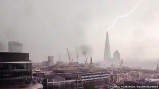 Lightning strike over the Shard