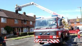 Fire fighters at the scene in Mumford Place