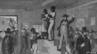 An 1861 newspaper illustration of a Virginia slave auction.