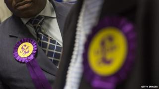 nited Kingdom Independence Party (UKIP) members wait for results of local election during the counting of votes at Trinity School on May 23, 2014 in Croydon