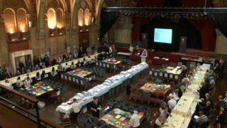 Election counting at the Corn Exchange in Ipswich