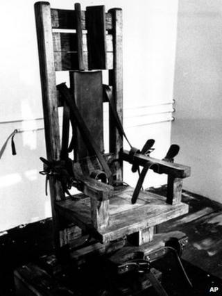 Undated file photo of electric chair in Tennessee state prison
