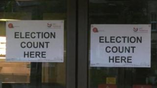 Election Count signs in Harrogate