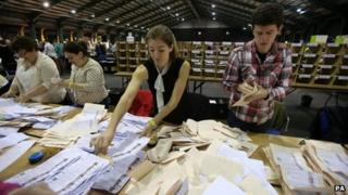 Counting got under way at 09:00 BST on Saturday