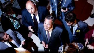 UKIP leader Nigel Farage arrives at Guildhall for count