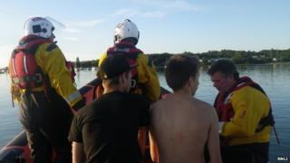 Teenagers rescued by lifeboat