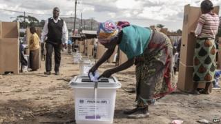 A Malawian woman casts her ballot - 21 May 2014