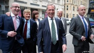 Nigel Farage heading to a post European elections press conference