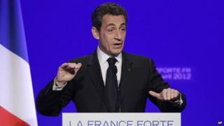 Nicolas Sarkozy speaks to reporters during a press conference as part of his presidential campaign in Paris, in April 2012