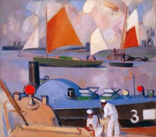 Blue submarine - Portsmouth harbour by JD Fergusson 1918