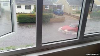 Flooded road in Hellesdon by Lynsey Hannant