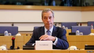 UK Independence Party (UKIP) leader Nigel Farage attends a meeting of leaders of European Parliament political groups in Brussels May 27, 2014