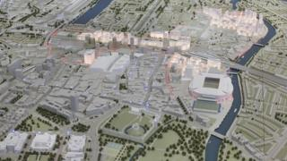 Scale model of Cardiff city centre