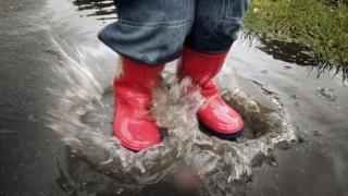 Puddle being splashed