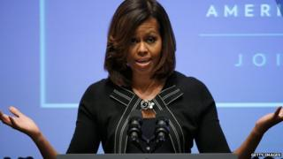First Lady Michelle Obama in Washington, DC on 30 April, 2014.