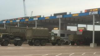 Military vehicles at Portsmouth ferry port