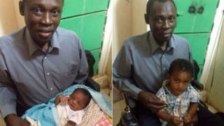 L: Daniel Wani with his daughter R: David Wani with this son
