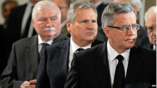 Former Polish heads of state Lech Walesa, Aleksander Kwasniewski and current President Bronislaw Komorowski attend a Catholic funeral mass for former Polish leader General Wojciech Jaruzelski