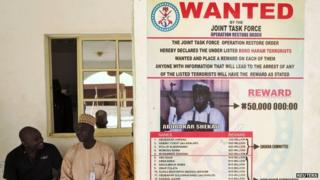 Poster advertising the search for Boko Haram leader Abubakar Shekau and other fighters 13/05/2014