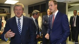 Prince William (right) with England manager Roy Hodgson (left)