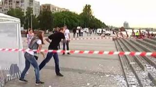 Plate-smashing event in the Ukrainian city of Dnipropetrovsk on 31 May