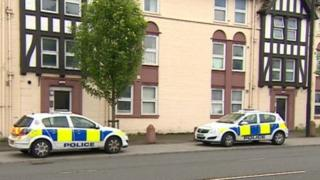 Police cars at Leazes Court, Newcastle
