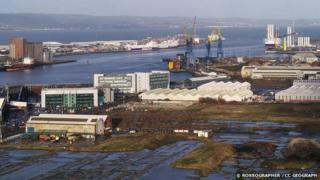 A view north over Belfast docks photographed from the top of a Harland and Wolff crane